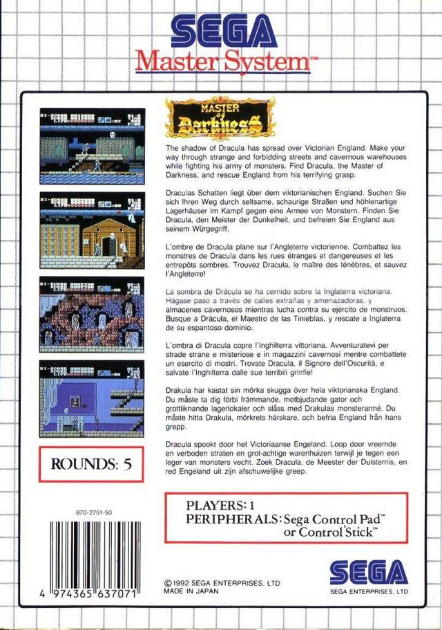 Back boxart of the game Master of Darkness (Europe) on Sega Master System