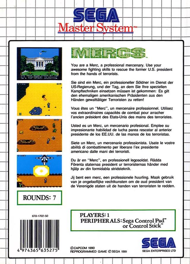 Back boxart of the game Mercs (Europe) on Sega Master System