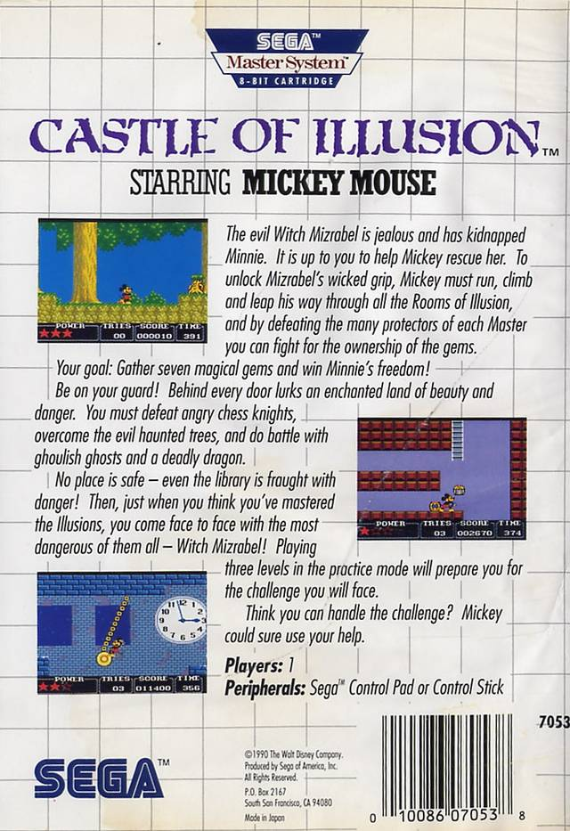 Back boxart of the game Castle of Illusion Starring Mickey Mouse (United States) on Sega Master System