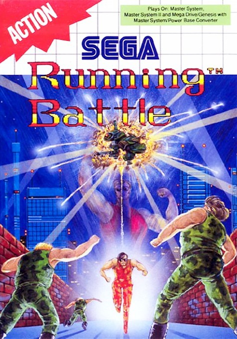 Front boxart of the game Running Battle (Europe) on Sega Master System