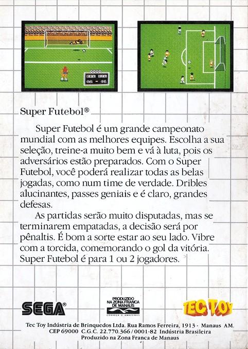 Back boxart of the game World Soccer (Brazil) on Sega Master System