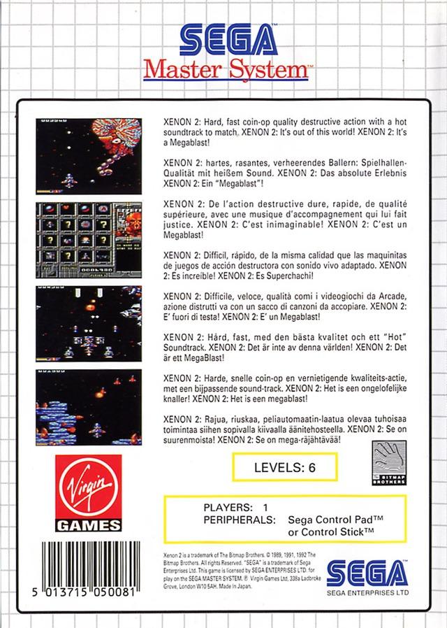 Back boxart of the game Xenon 2 (Europe) on Sega Master System