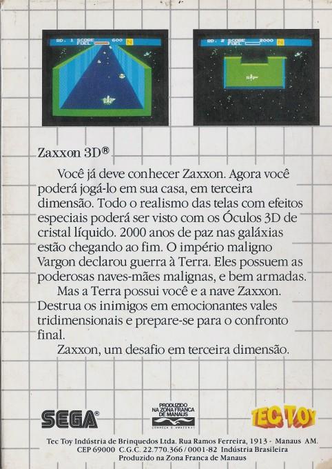 Back boxart of the game Zaxxon 3D (Brazil) on Sega Master System