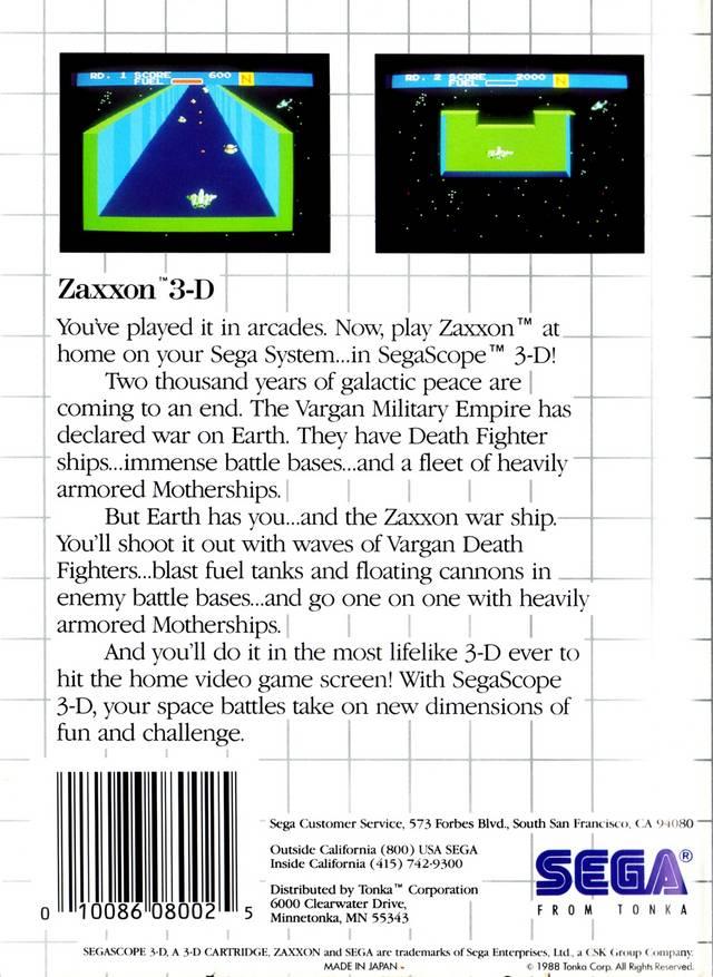 Back boxart of the game Zaxxon 3D (United States) on Sega Master System