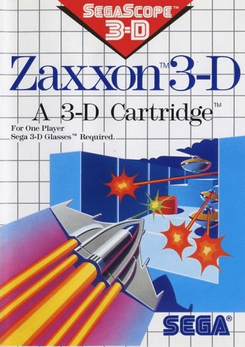 Front boxart of the game Zaxxon 3D (United States) on Sega Master System
