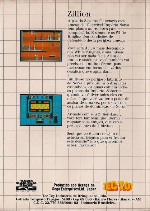 Back boxart of the game Akai Koudan Zillion (Brazil) on Sega Master System