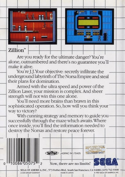 Back boxart of the game Akai Koudan Zillion (United States) on Sega Master System