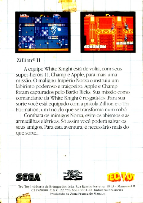 Back boxart of the game Zillion II - The Tri Formation (Brazil) on Sega Master System