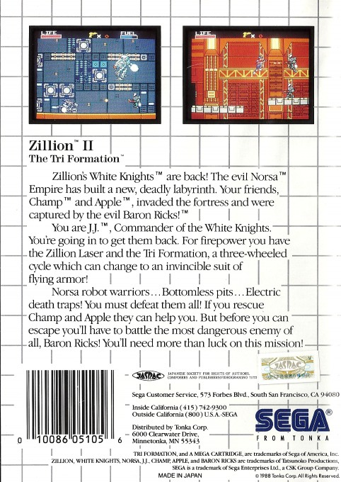 Back boxart of the game Zillion II - The Tri Formation (United States) on Sega Master System