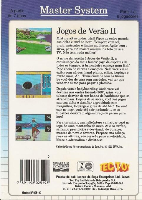 Back boxart of the game Jogos de Verao II (Brazil) on Sega Master System