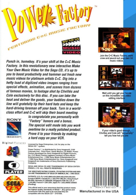 Back boxart of the game Power Factory Featuring C+C Music Factory (United States) on Sega Mega CD
