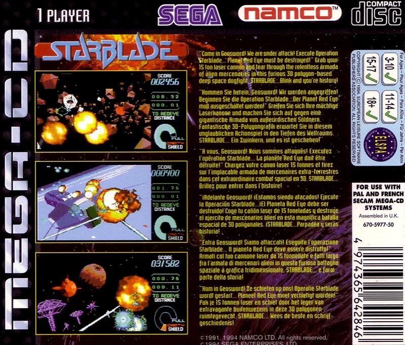 Back boxart of the game Starblade (Europe) on Sega Mega CD