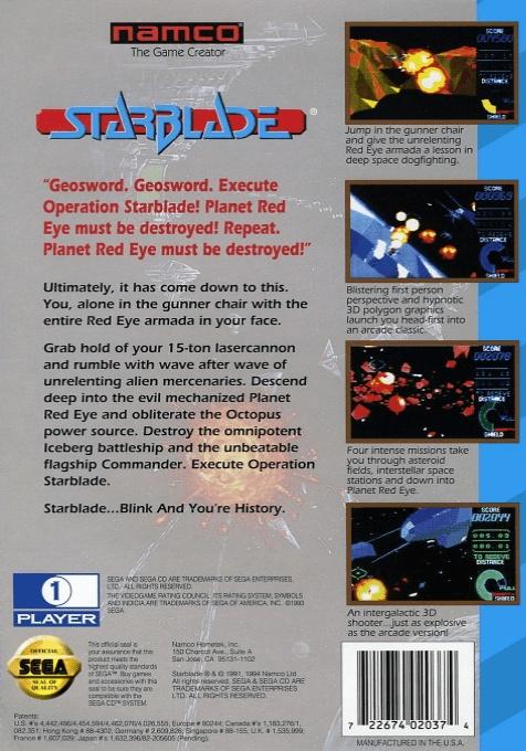 Back boxart of the game Starblade (United States) on Sega Mega CD