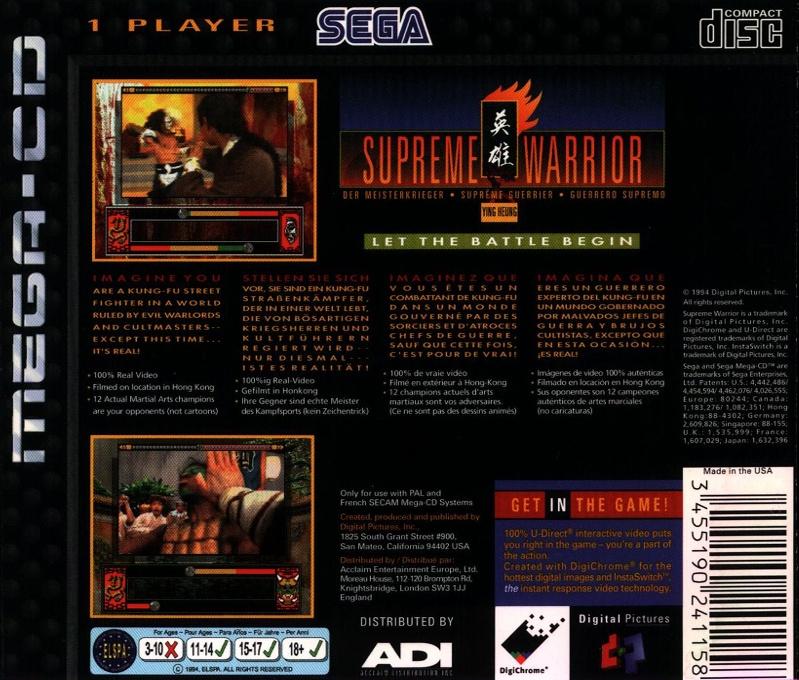 Back boxart of the game Supreme Warrior (Europe) on Sega Mega CD