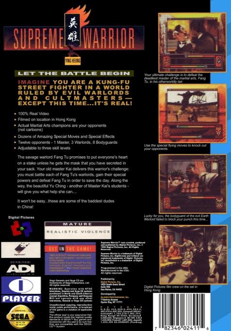 Back boxart of the game Supreme Warrior (United States) on Sega Mega CD