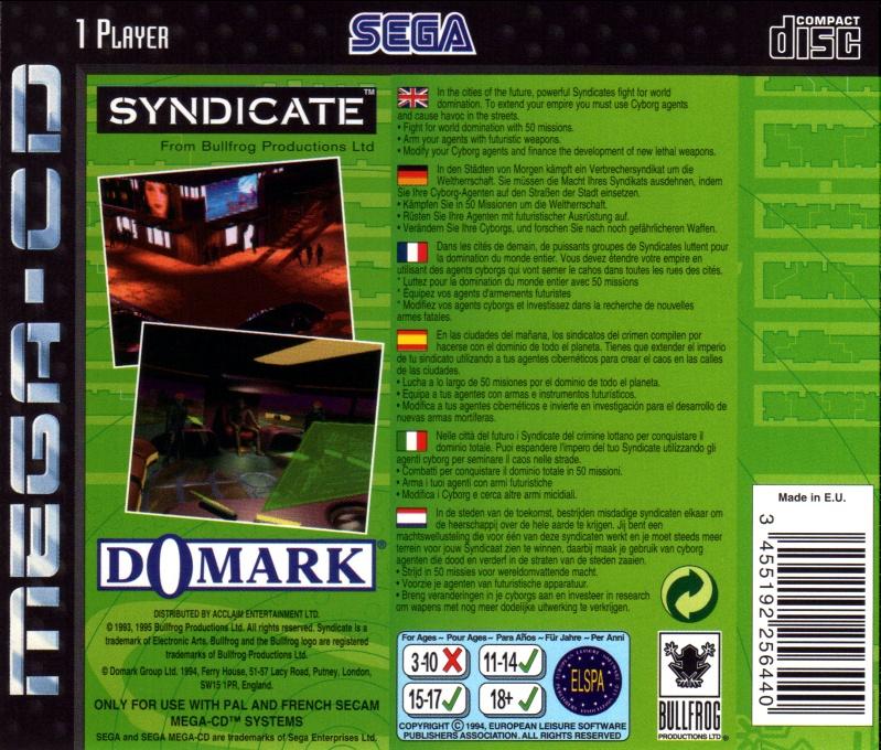 Back boxart of the game Syndicate (Europe) on Sega Mega CD