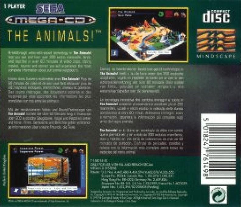 Back boxart of the game The Animals! (Europe) on Sega Mega CD