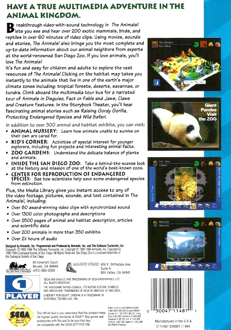 Back boxart of the game The Animals! (United States) on Sega Mega CD