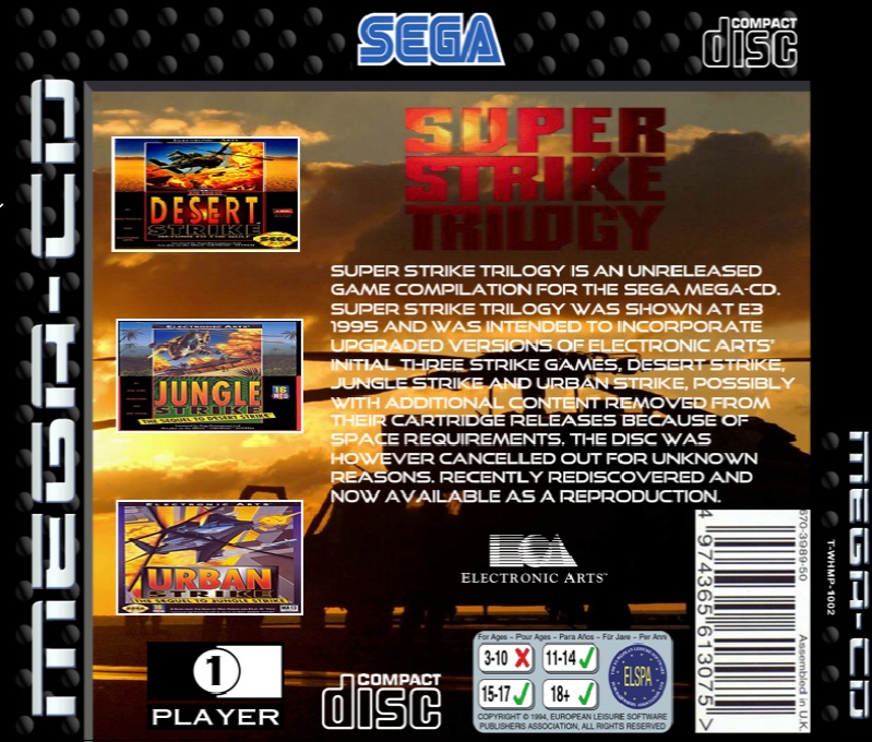 Back boxart of the game Super Strike Trilogy (Europe) on Sega Mega CD