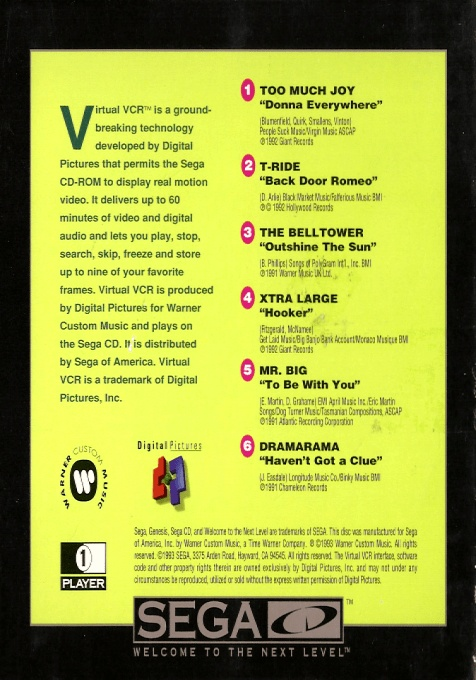 Back boxart of the game The Colors of Modern Rock (United States) on Sega Mega CD