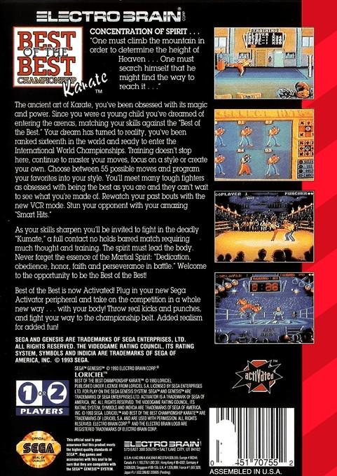 Back boxart of the game Kick Boxing, The (United States) on Sega Megadrive