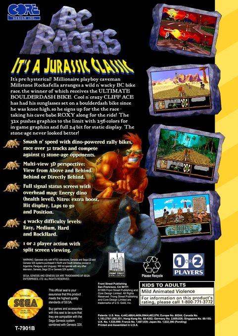 Back boxart of the game BC Racers (United States) on Sega Megadrive