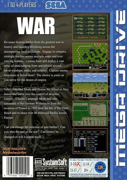 Back boxart of the game Advanced Daisenryaku (Europe) on Sega Megadrive