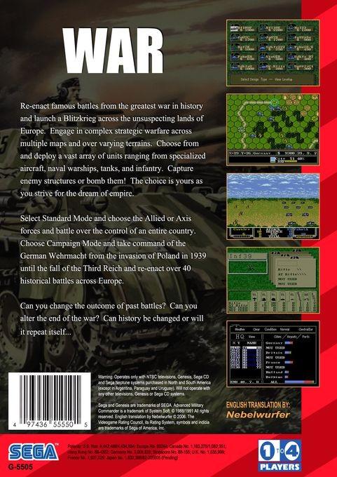 Back boxart of the game Advanced Daisenryaku (United States) on Sega Megadrive