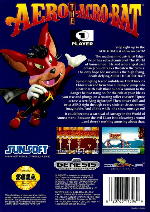 Back boxart of the game Aero the Acro-Bat (United States) on Sega Megadrive