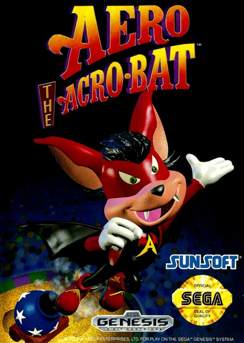 Front boxart of the game Aero the Acro-Bat (United States) on Sega Megadrive