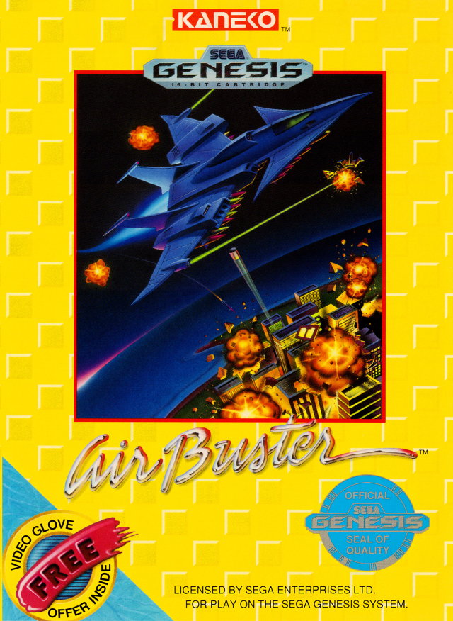 Front boxart of the game Air Buster (United States) on Sega Megadrive
