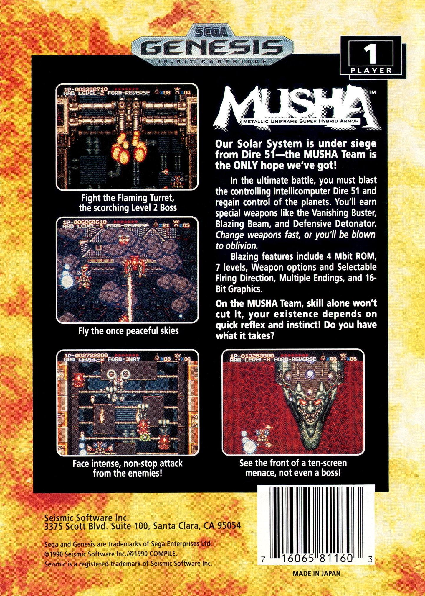 Back boxart of the game Musha Aleste - Full Metal Fighter Ellinor (United States) on Sega Megadrive