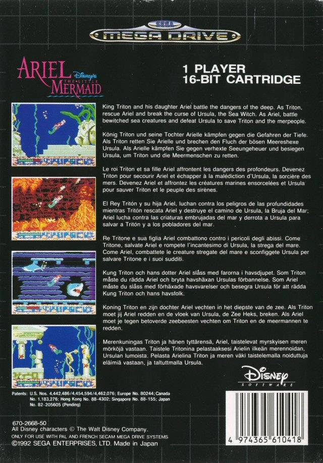 Back boxart of the game Ariel - The Little Mermaid (Europe) on Sega Megadrive