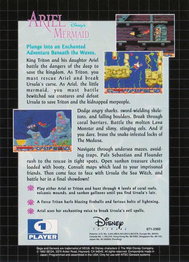Back boxart of the game Ariel - The Little Mermaid (United States) on Sega Megadrive