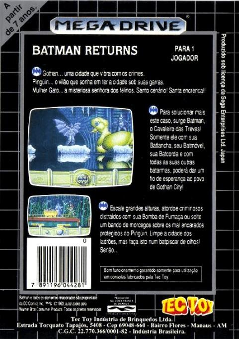 Back boxart of the game Batman Returns (Brazil) on Sega Megadrive