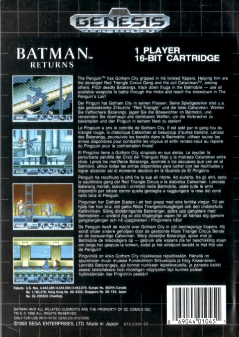 Back boxart of the game Batman Returns (Canada) on Sega Megadrive
