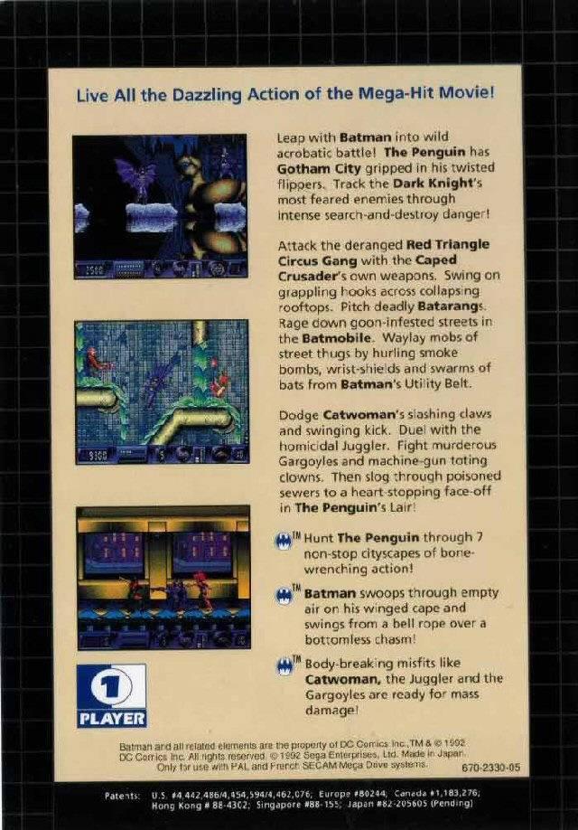 Back boxart of the game Batman Returns (Europe) on Sega Megadrive