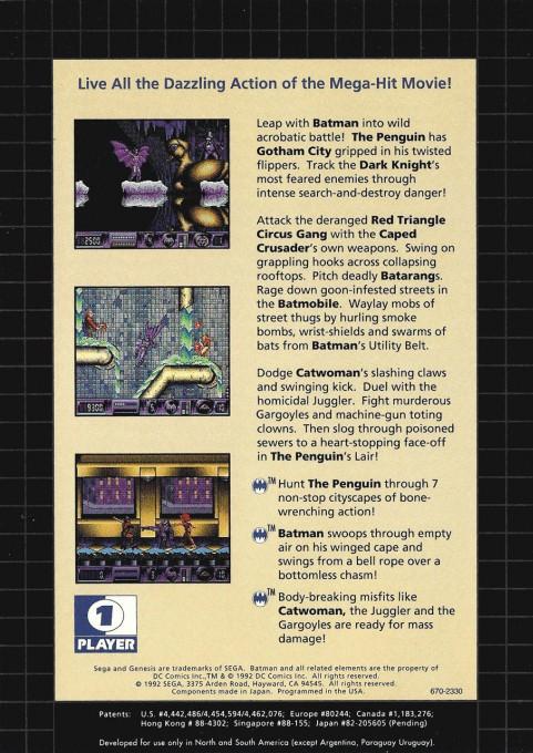Back boxart of the game Batman Returns (United States) on Sega Megadrive