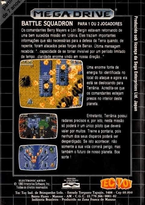 Back boxart of the game Battle Squadron (Brazil) on Sega Megadrive