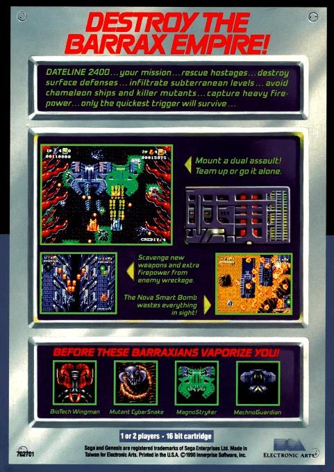 Back boxart of the game Battle Squadron (United States) on Sega Megadrive