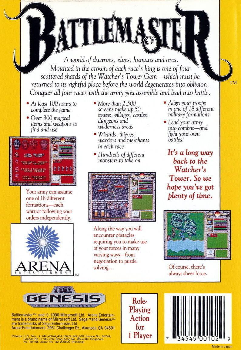 Back boxart of the game Battlemaster (United States) on Sega Megadrive