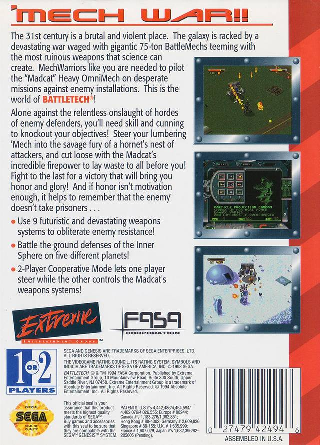 Back boxart of the game Battletech (United States) on Sega Megadrive