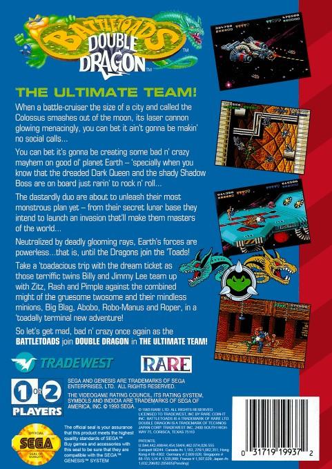 Back boxart of the game Battletoads and Double Dragon (United States) on Sega Megadrive