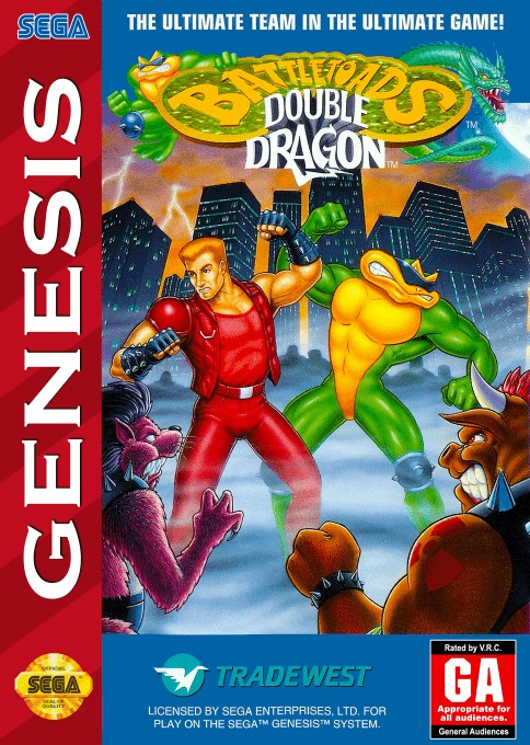 Front boxart of the game Battletoads and Double Dragon (United States) on Sega Megadrive