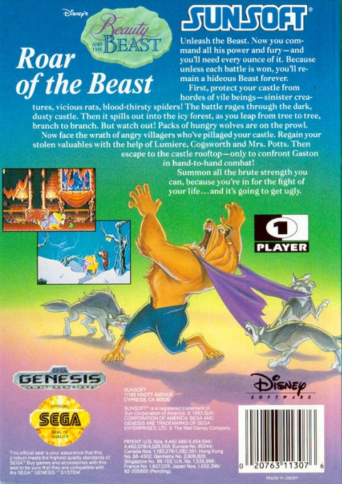 Back boxart of the game Beauty and the Beast - Roar of the Beast (United States) on Sega Megadrive