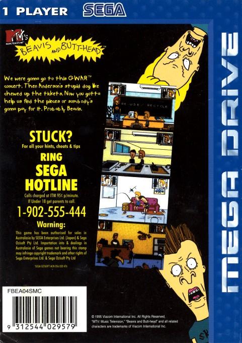 Back boxart of the game Beavis and Butt-head (Australia) on Sega Megadrive