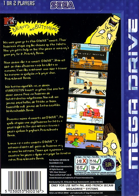 Back boxart of the game Beavis and Butt-head (Europe) on Sega Megadrive