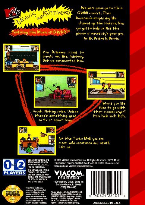 Back boxart of the game Beavis and Butt-head (United States) on Sega Megadrive