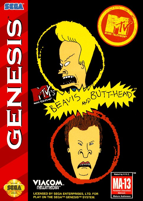 Front boxart of the game Beavis and Butt-head (United States) on Sega Megadrive