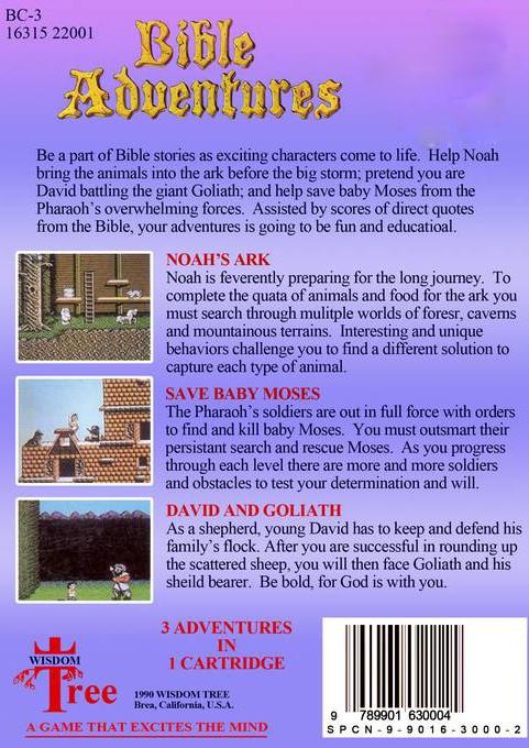 Back boxart of the game Bible Adventures (United States) on Sega Megadrive